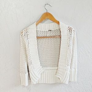 Free People Open Knit Fitted Cream Cardigan